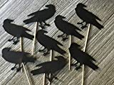 Large Black Raven Cupcake Toppers - Halloween Party Picks - Black Crow Bird Food Picks - Black Crow - Samhain Party (Set of 12)