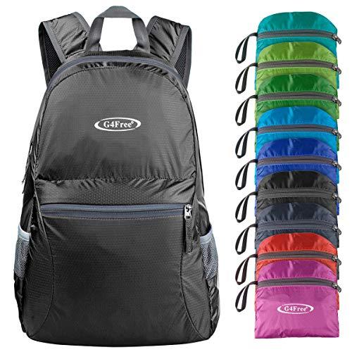 G4Free 20L Lightweight Packable Backpack Travel Hiking Daypack Foldable (Black)