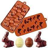 Molde de Silicona de Pascua, FANDE Molde para hornear huevos de Pascua, Molde de Silicona de Chocolate, para Chocolate Hielo Caramelo Candy Postre, 2 piezas