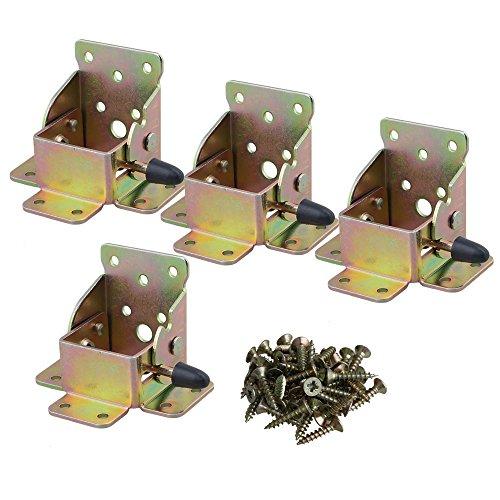 Zink Eisen Scharniere Klappbeschlag Tisch-Klappenbeschlag klappbar für Tischbeine und Bänke, Stahl verzinkt, Klappkonsole für Tisch-Füße Brems Stütze mit Schrauben Packung von 4(75x60x55mm)