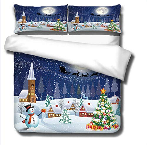 GRBZL Duvet Cover Anti Allergy Christmas Eve Christmas TreeQuilt Duvet Cover Set Easy Care Anti-Allergic Soft & Smooth With Pillow Cases,Single/140x200cm