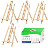 4 Pack Wooden Easel, Foldable A Frame Wood Easel Adjustable Table Easel with Exquisite Packaging for Drawing, Oil Water Painting, Table Top Arts and Crafts (16 x 9.5 Inches)