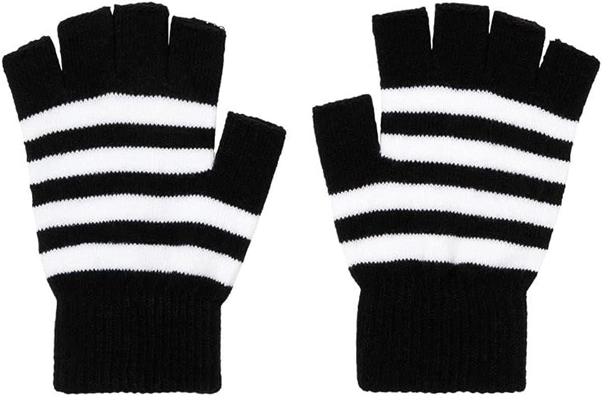 Black & White Stripe Fingerless Gloves MULTI One Size
