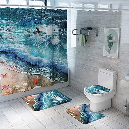 Enhome Juego de 4 Piezas de Alfombra de baño Antideslizante + Tapa de Inodoro + Alfombrilla de baño + Cortina de Ducha, Mundo de los Fondos Marinos (Starfish E)