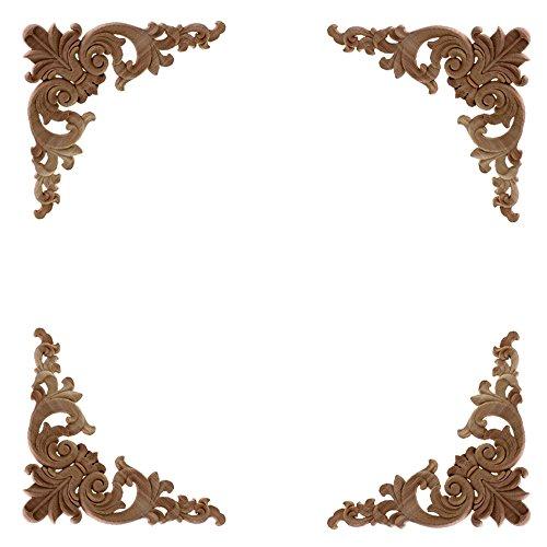 4 Stück Holz Ornament Schrank/Holzornamente Bastelholz Schrank Wand Ecke deko Holzornamente Handgemacht, 12x12cm