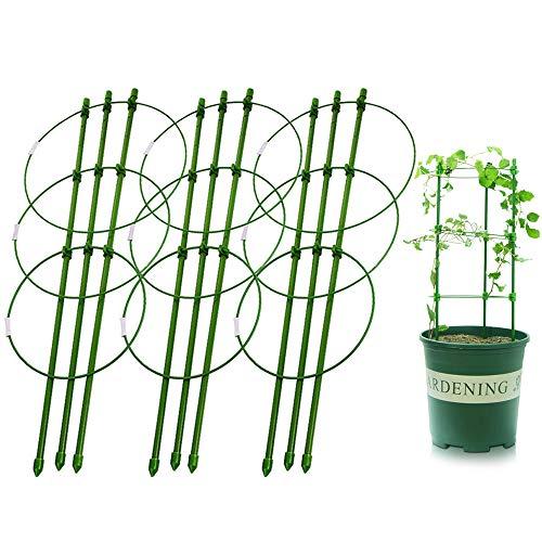 liye 18' Garden Pot Plant Support Trellises Ring Trellis Flower Stainless Steel Climbing Vegtables Flowers Fruit Potato Tomato Peony Rose Grow Seeding Cage Stake Indoor 45cm/18inch(3 Pack)