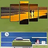 VGFGI Póster de arte de pared sala de estar hd 5 tablero pareja romántica caminando en la playa vista de la puesta de sol decoración del hogar póster pintura de impresión moderna