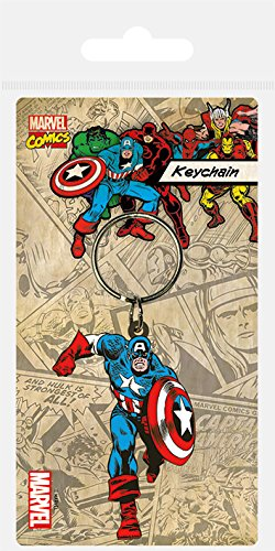 Marvel Pyramid International Porte-clés en caoutchouc Captain America Multicolore 4,5 x 6 cm