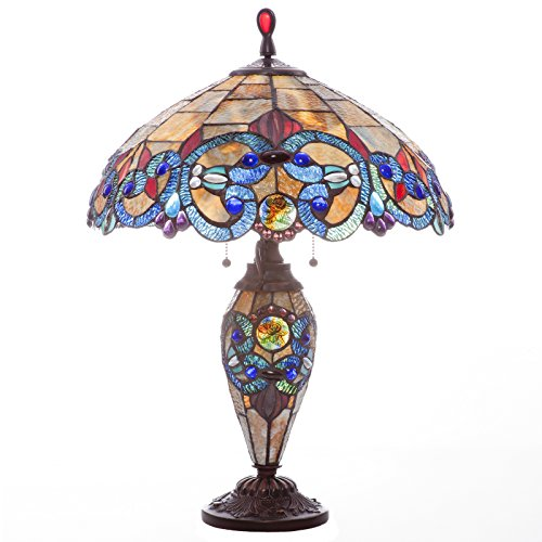 River of Goods 26-Inch Tiffany Style Stained Glass Double Lit, Blue/Amber