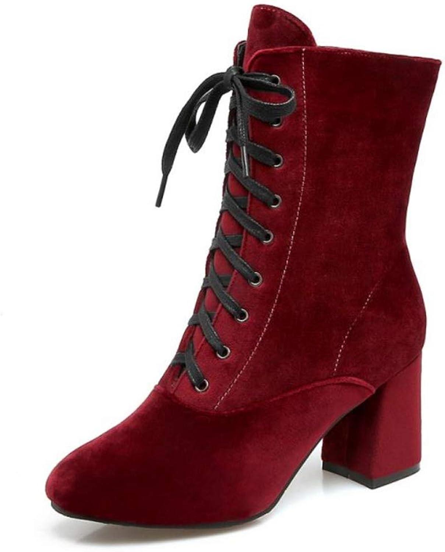 Kvinnors middle Calf stövlar Lace Up High Chunky Heel stövlar stövlar stövlar Winter Round Toe Side Zipper kvinnor Warm Footbaves  bästa försäljningen