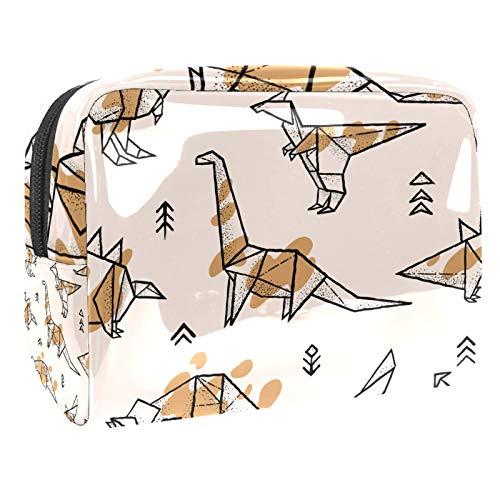 Bolsa de Maquillaje Bolsas de Aseo Organizador de cosméticos Bolsa con Cremallera para Mujeres Dinosaurios de Origami con Salpicaduras Patrón sin Costuras
