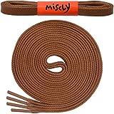 Miscly – Schnürsenkel Flach - Gewachst Reißfest [3 Paar] für Steifel und Lederschuhe – 100% Baumwolle - Ø 6mm (114 cm, Braun)