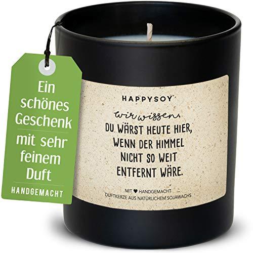 Happysoy Trostkerze im Glas mit Spruch - aus Sojawachs natürlich handgemacht - nachhaltiges persönliches Geschenk Kondolenzgeschenk Beileid aussprechen - Kerze für Verstorbene Trauerkerze