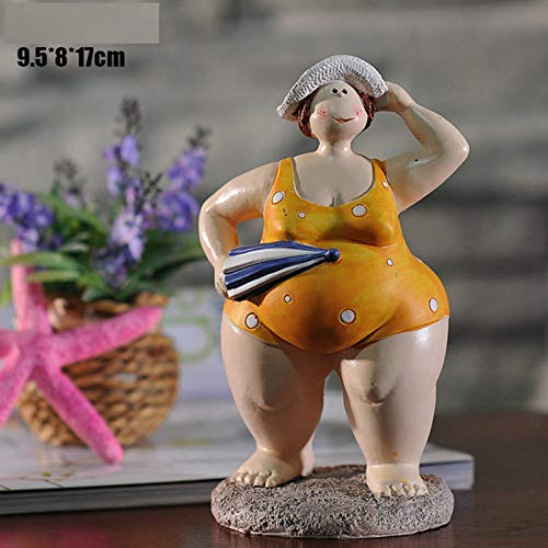 YL-adorn Art Statue Sculptuur figuur bikini badpak Fat Lady figuur creatieve Mediterrane stijl geel hars beeld kunst voor de woonkamer tafel accessoires Kerstmis cadeau kantoor bar ornamenten