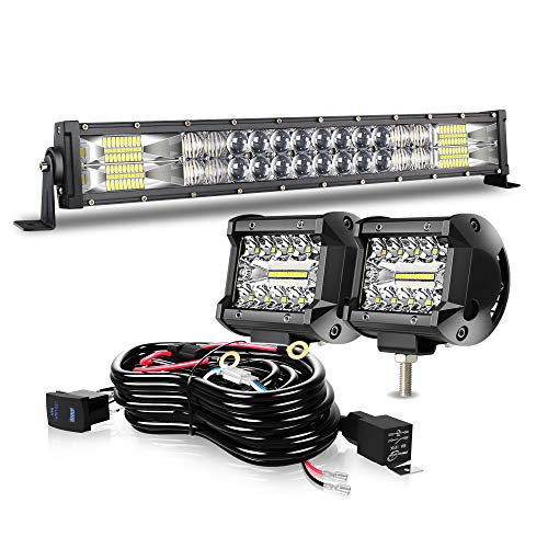 DOT 5D 20Inch 120W LED Light Bar+2x 4Inch Led Fog Cube Pods+Wiring For Driving Lamps Marine Boat Polaris Honda Pioneer Can Am Defender Dodge GMC UTV ATV Kubota Kawasaki Suzuki Pathfinder Yukon