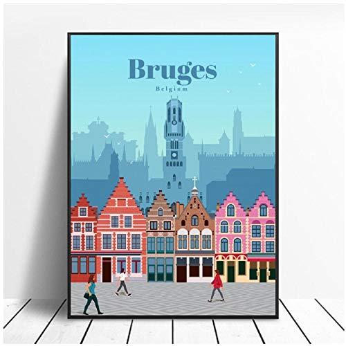 Zhaoyangeng Reizen naar Brugge Canvas Travel Poster Wall Art Foto's voor Woonkamer Home Decor- 50X70Cm Unframed