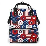 Lucaeat - Mochila para pañales, diseño de estrellas americanas y símbolos de la bandera de Estados Unidos, gran capacidad, impermeable y elegante
