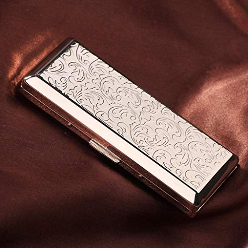 Mini Cigarette Case for mannen en vrouwen ultradunne draagbare 14-delige Cigarette Box, Heren Social Gift (Color : Silver)