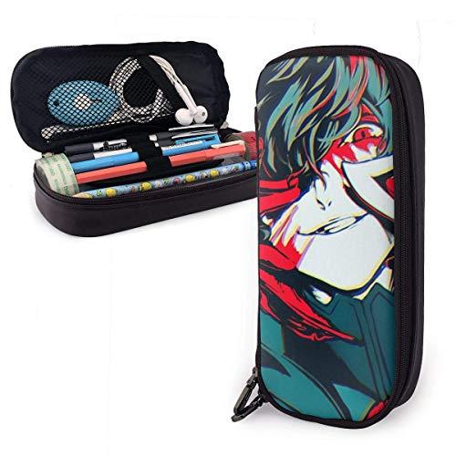 Anime Persona 5 Joker Leder Federmäppchen Aufbewahrung Briefpapier Taschen Halter Box Reißverschluss Unisex für Schule/Beamte/Kapazität/Bleistift Tasche Box