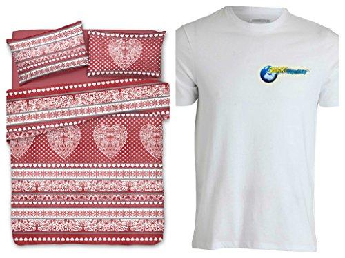Smartsupershop Housse de couette pour lit double Tyrolien Cœur – Couleur rouge – avec taies d'oreiller – en coton