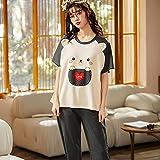 Conjunto de Pijamas de Manga Corta de Verano para Mujer, Conjunto de Pijamas de pantalón Largo, Conjunto de Ropa de Dormir de algodón para Ocio-M_40-47.5KG