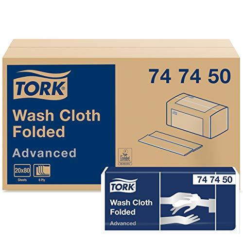 Tork 747450 Chiffon de nettoyage/Wash Cloth Advanced - Blanc - 6 plis - lot de 20 - 20 x 80 chiffons - 9,5 x 25 cm