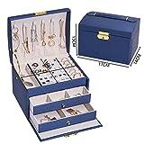 Papel triturado para caja de regalo Ataúd Joyero de alta capacidad Joyero Collar Pendientes Anillos Embalaje de Joyería Caja Exhibición Regalos de Cumpleaños x Caja de Regalo (Color: XSBX37 Azul)