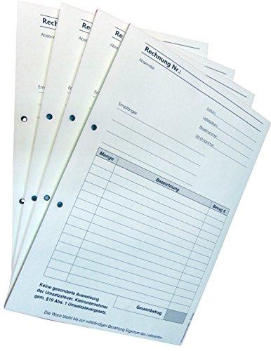 Block Rechnung Kleinunternehmer §19 DIN A4, 2-fach selbstdurchschreibend,2x50 Blatt weiß/grün - gelocht (22635)