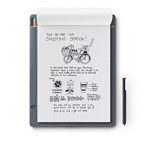 Wacom Bamboo Slate Smartpad A4, Großes Notepad (mit Digitalisierungs-Funktion inkl. Eingabestift mit Kugelschreiber-Mine, geeignet für Android & Apple)
