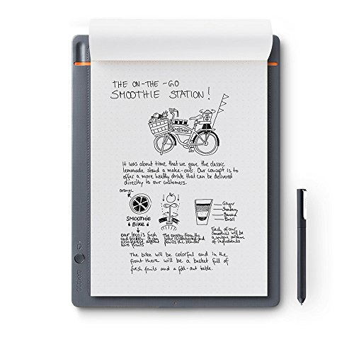 Wacom CDS-810S Bamboo Slate A4 - Cuaderno Digital para Apuntes y Dibujo, Compatible con Dispositivos iOS, Android y Windows, Incluye Bolígrafo, color Gris Medio