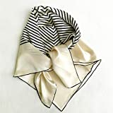 100% Mulberry Silk Scarfs for Women - Lightweight Floral Pattern Satin for Headscarf&Neck, 90CM Square Scarf.