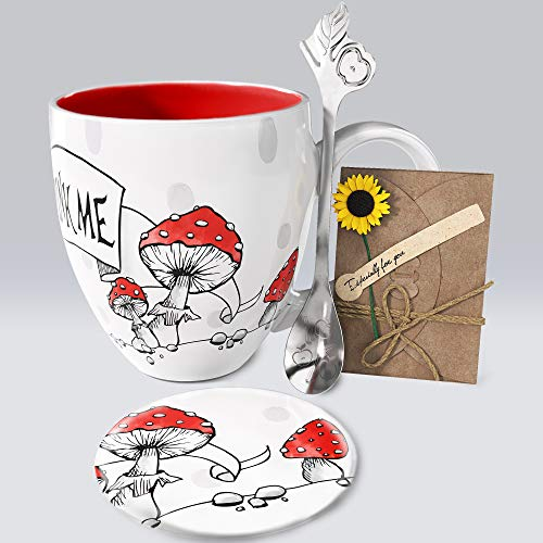 YC YANG CHAI Jumbotasse XXL 900ml 4-Teiliges Geschenkset Porzellan - Kaffeebecher Teetasse Untersetzer Extra-Langer Löffel lang - YC Wondercup Cup