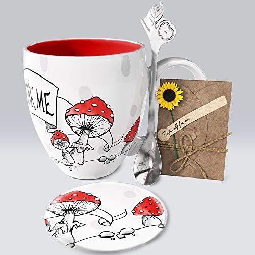 YC YANG CHAI 4-Teiliges Geschenkset für Kaffeeliebhaber - XXL- Porzellan-Kaffeebecher + Untersetzer + Extra-Langer Löffel - YC Wondercup Cup