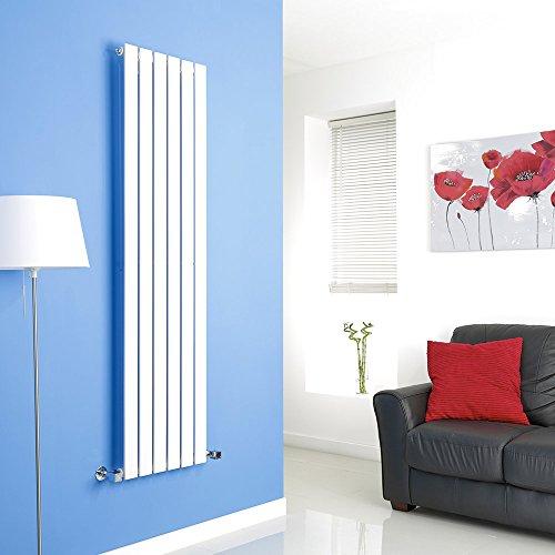 Hudson Reed Radiador de Diseño Moderno Vertical Delta - Radiador con Acabado Blanco - Paneles Planos - 1600 x 420mm - 879W - Calefacción