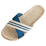 Bverionant Zapatillas de Estar por Casa de Lino, Slippers para Verano, Zapatillas Interior Sandalias Unisex, Pantuflas Casa para Hombres y Mujeres Cómoda Fresca Azul 42-43