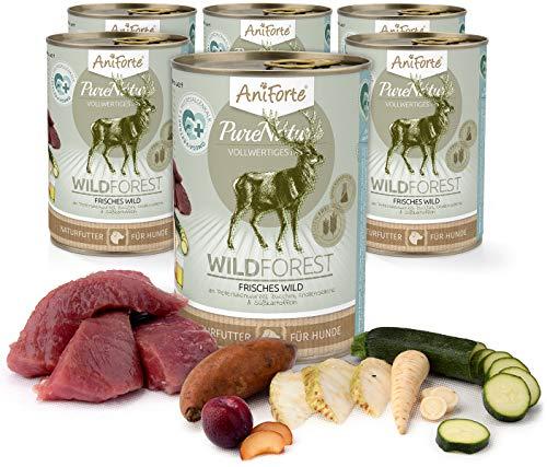 AniForte Hundefutter Nass WildForest 6 x 400g – Nassfutter für Hunde, Frisches Wildfleisch, Gemüse & Früchte, Natürliches Hundenassfutter mit Extra viel Fleisch, getreidefrei & glutenfrei