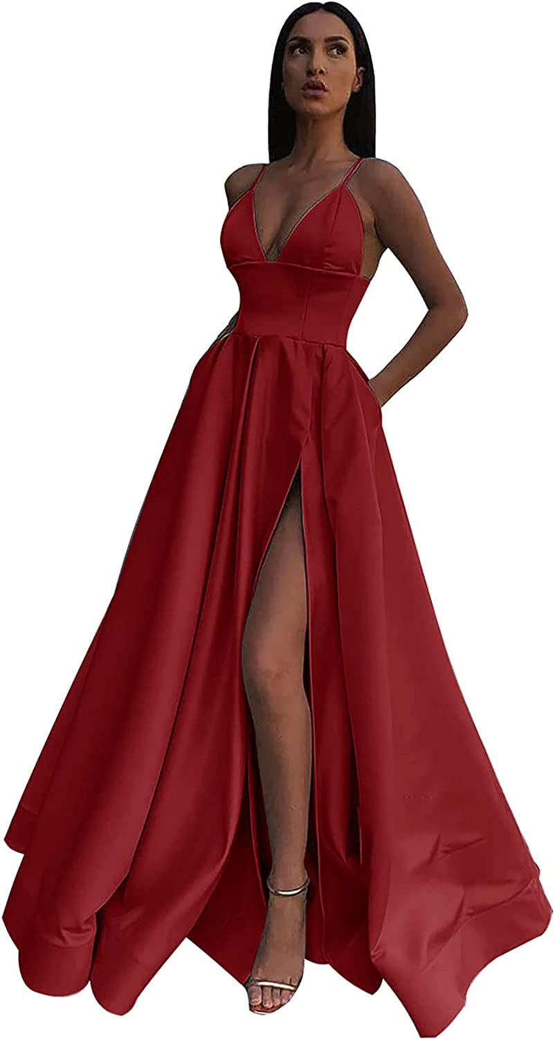 Buy Satin Prom Dresses for Women Long Formal Evening Ball Gowns A ...