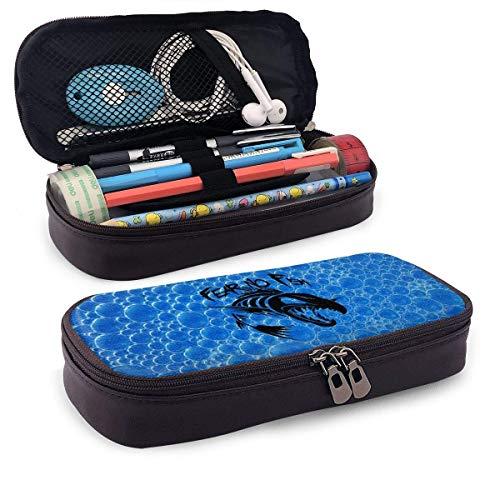 Yuanmeiju Art Utensils,Work Accessories,Pu Ledertasche,Tasche mit Reißverschluss,Fear No Fish Portable Student Leather Mäppchen Stationery Bag Coin Purse Toiletry Bag Multi Purpose