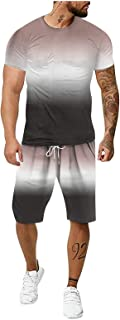 AIchenYW Men's 2 Piece 3D Tie-Dye Tracksuit Shorts Set, Classic All-Match Drawstring Short Sleeve Lightweight Quick Dry Pa...