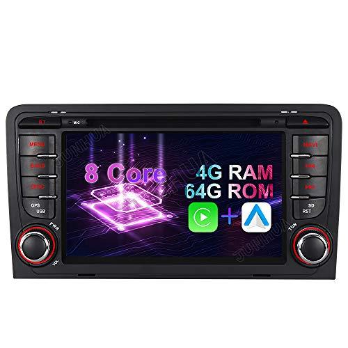 Android 10 Octa-Core 4GB RAM+64GB ROM Carplay+Android Auto DSP Autoradio DVD GPS Navigation Navi Radio Bluetooth DAB+ WiFi OBD 4G LTE TPMS Lenkrad IPS für Audi A3 S3 RS3 8P 8V 8PA Bilaterale Taste