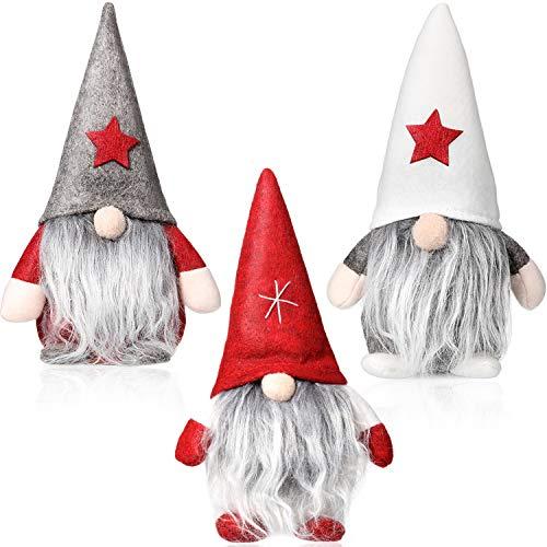 3 Pezzi Gnomo Di Natale Mini Bambola Di Stoffa Fatta A Mano In Stoffa Di Babbo Natale Pupazzo Di Neve Figurine Giocattolo Regalo Di Compleanno Per Decorazione Domestica Di Festa Di Natale
