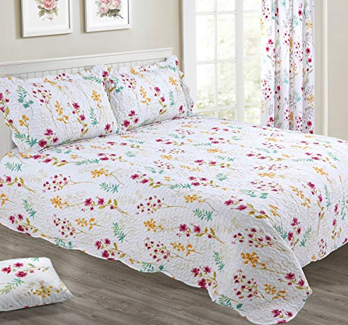 Meadow Floral White Bedspread set - Single/Double/King Sizes (Double)