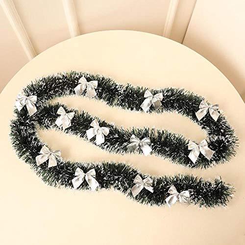 LLAAIT 2019 Nieuwe 2M Kerst Tinsel Garland met 12 bogen, Groen Lint Xmas opknoping Ornament voor Pine Tree Open haard home Decorations,zoals getoond, Verenigde Staten