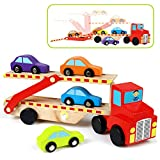 Symiu Camion Transporteur Jouet de Bois avec Remorque à Double Pont et 4 Voitures en Bois pour Enfants 3 4 5 Ans Fille Garcon