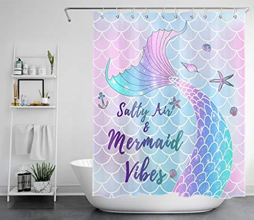 LB Duschvorhang Traumhafte Meerjungfrau 180x200cm Rosa Fischschuppen Bad Vorhang mit Haken Extra Lang Polyester Wasserdicht Antischimmel Badezimmer Vorhänge