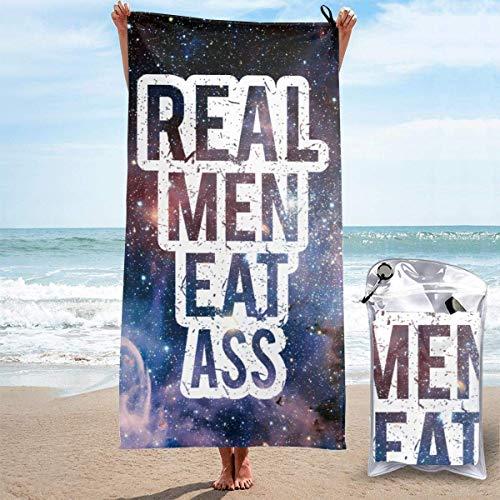 SFWER Real Men-EAT Ass Mikrofaser Schnelltrocknendes Handtuch für draußen, Reisen, Camping, Fitnessraum, Pool, Schwimmer - 2 Größen
