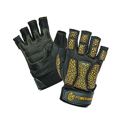 POWERHANDZ Weighted Exercise Gloves for Strength and Resistance Fitness Training - Non Slip, Fingerless, Pure Grip Heavy Weight Lifting Gym Gloves