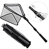 SAN LIKE Fishing Net Fish Landing Nets Folding Telescopic Sturdy Pole Handle Extending to 36inches for Freshwater Saltwater