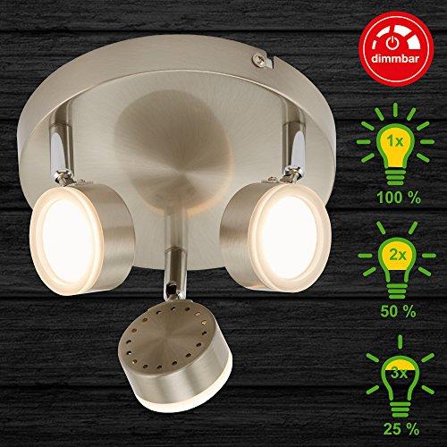 Briloner Leuchten Led-plafondlamp met 4-traps dimmer, spots draai- en zwenkbaar, 15 watt, 1200 lumen, mat-nikkel, metaal kunststof