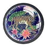 Bennigiry 4 Stück 30 mm Wasserfarben Tiger Kuh Exotische Federn Kristallglas Schrankknauf Schubladengriff für Küche, Schrank, Kommode, Kleiderschrank etc.